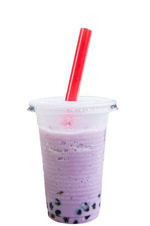 drinking straw: Perple pearl milk tea on white background.