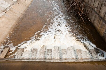 sluice: River dam flowing for farmland irrigation and flood protection  in Thailand