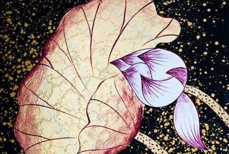 Handcraft lotus painting with white and golden on black background  photo