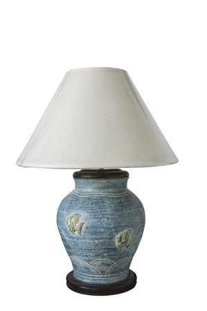 Modern blue table lamp on white background  photo