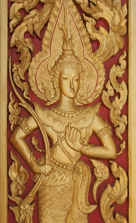 Thai style gloden deva carving with handcraft on wood