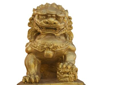 gloden lion statue on white background