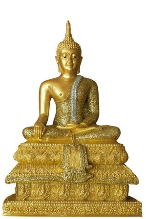 Golden Buddha on white background Stock Photo