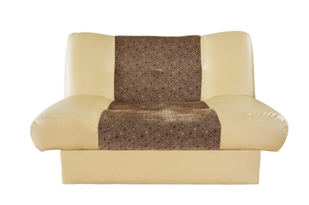 modern cream leather sofa Stock Photo