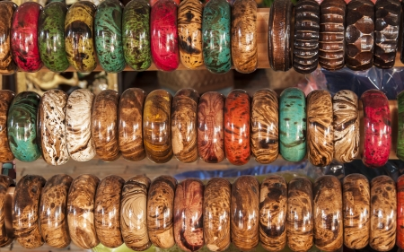 Colorful Bangles in a row on sale in the market Stock Photo