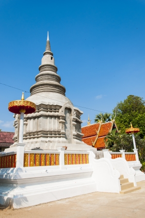 The new pagoda structure at temple   The pagoda structure in Lampang, Thailand Stock Photo