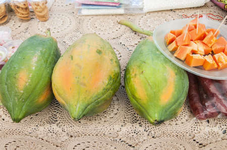 Three papaya ripe on the table