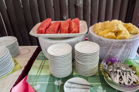 Thai style  dish setting on the table with fruit