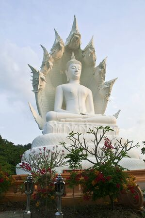 Giant white sculpture Buddha  Stock Photo
