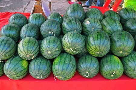 Green watermelons on local market in Thailand