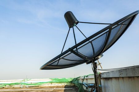 Satellite dish on the deck in Thailand Stock Photo