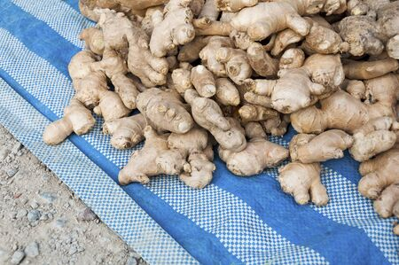 Heap of Ginger on sale at  Frmer s market Stock Photo