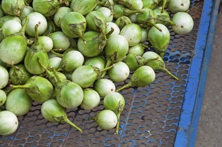 Heap of Green  Eggplant on sale at  Frmer s market photo