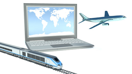 concept of logistics  plane, train and laptop photo