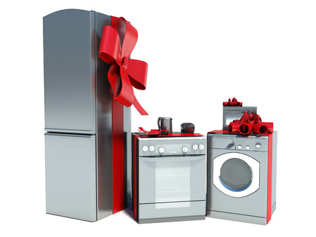 Home appliance with ribbons Stock Photo