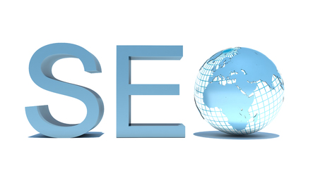 illustration of seo text with earth globe, search engine optimization concept illustration