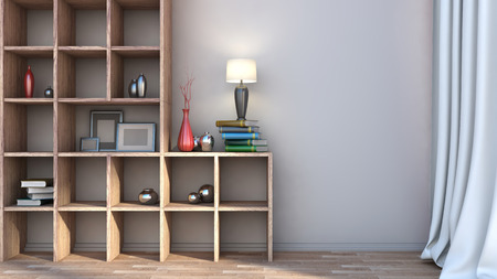 wooden shelf with vases, books and lamp photo