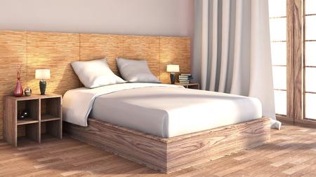 bedroom with wood trim photo