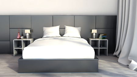 Black and white color in the bedroom photo