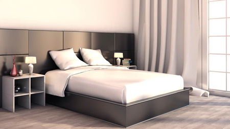 render residence: Black and white color in the bedroom