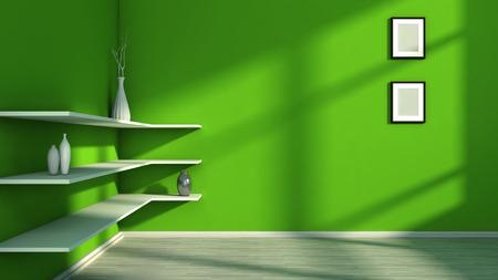 white shelf: green interior with white shelf and vases