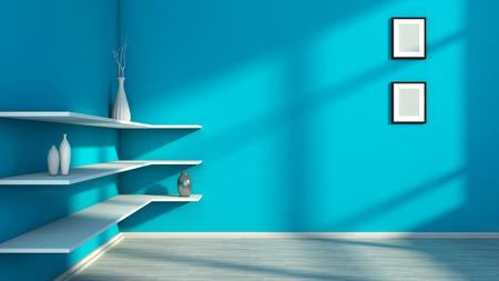 white shelf: blue interior with white shelf and vases
