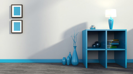 blue shelf with vases, books and lamp photo