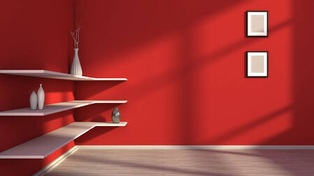 red interior with white shelf and vases photo