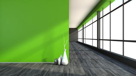 empty interior: green empty interior with large window