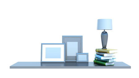 shelf with books, lamp and picture photo