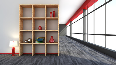 red interior with large window and shelf photo