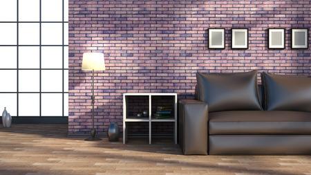 Modern interior of room with sofa photo