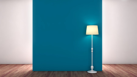 blue empty interior with lamp Imagens