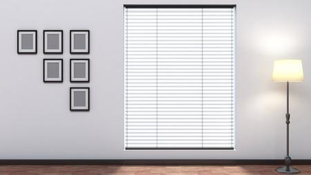witte lege inter met blinds