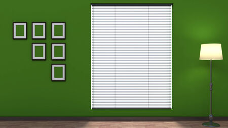green empty interior with blinds photo
