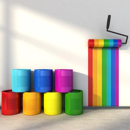 keuze van de kleuren voor het schilderen van een kamer. kleuren van de regenboog