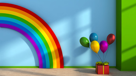 kidsroom: Playroom with rainbow