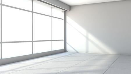white empty interior with large window Archivio Fotografico