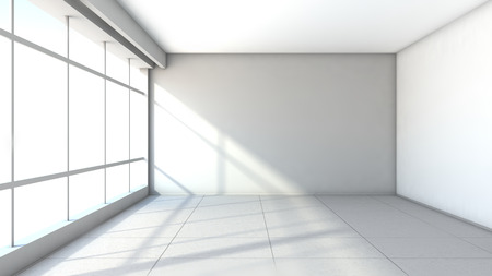 empty interior: white empty interior with large window Stock Photo