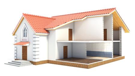 Huis in de sectie. Interieur Stockfoto