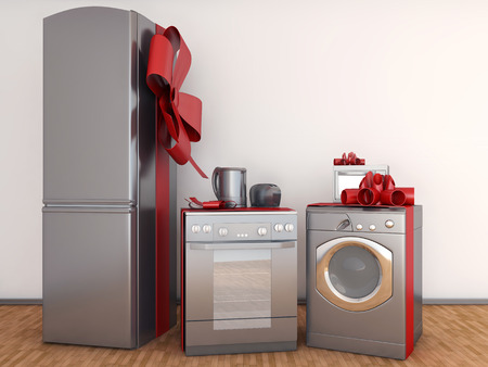 Home appliance with ribbons Stockfoto