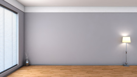 empty space: white empty interior with blinds Stock Photo