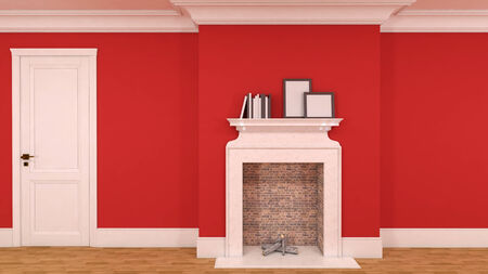 interior in red with a fireplace, books and empty pictures. 3D photo