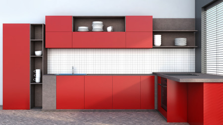 Kitchen in red with blinds