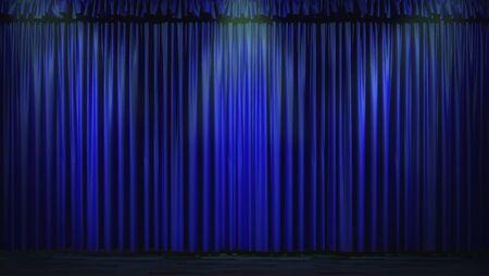 3d blue curtain lit by spot lights