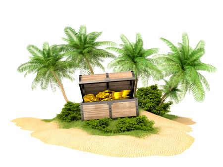isla del tesoro: Cofre del tesoro perdido de oro en la isla Foto de archivo
