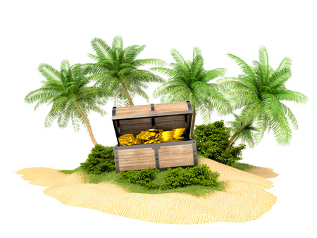 island: Lost treasure chest of gold on the island