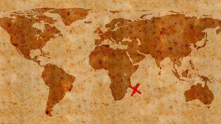 isla del tesoro: la ilustración de la textura de un antiguo mapa del tesoro Foto de archivo