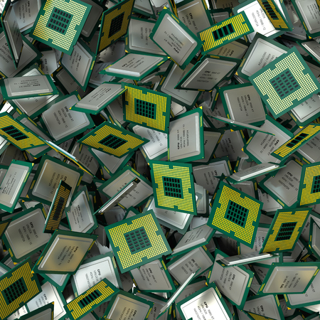 processors: background heap of modern processors Stock Photo