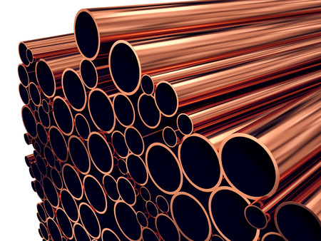 metalware: heavy metallurgical industrial production concept. copper pipes